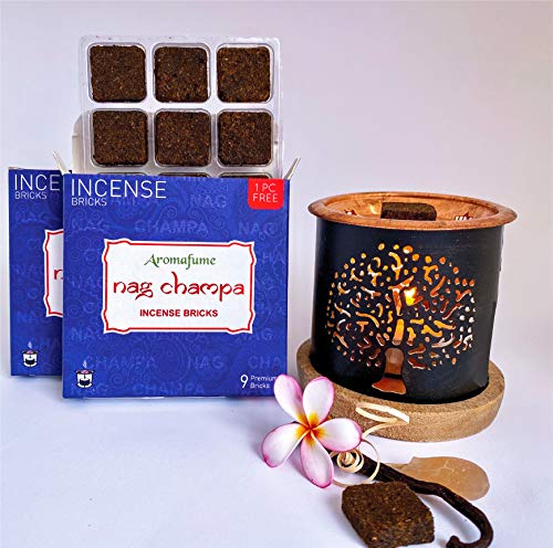 Aromafume Nag Champa Incense Bricks (2 Trays x 9 Pieces Each) with Tree of Life Exotic Incense Diffuser   Ideal for Meditation, Yoga, Relaxation, Healing & Rituals   Gifts (Nag Champa Incense Set)