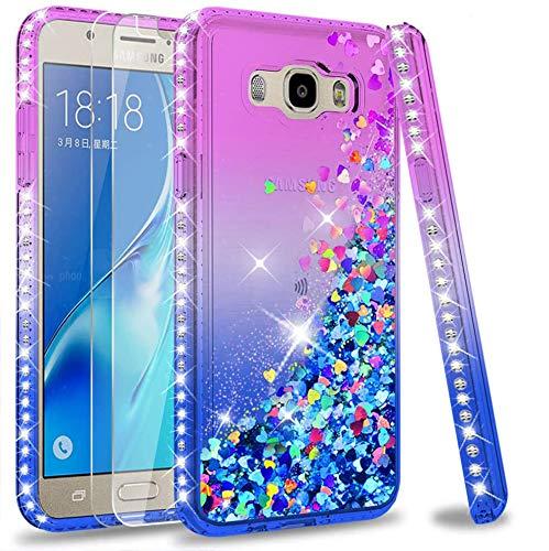 LeYi Custodia Galaxy J7 2016 Glitter Cover con Vetro Temperato [2 Pack],Brillantini Diamond Silicone Sabbie Mobili Bumper Case per Custodie Samsung Galaxy J7 2016 SM-J730F ZX Purple Blue Gradient