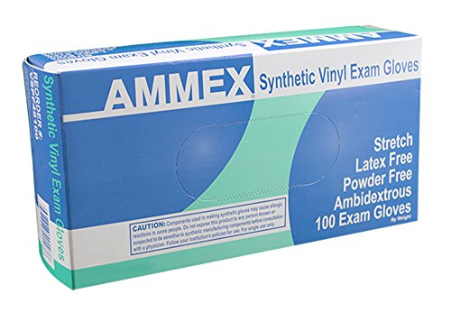 AMMEX Medical Ivory Stretch Synthetic Vinyl Gloves, Case of 1000, 4 mil, Size XLarge, Latex Free, Powder Free, Disposable, Non-Sterile, VSPF48100