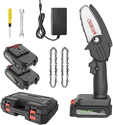 MINLUK Mini Motosega a Batteria Portatile con Caricatore e 2 Batterie, Motosega Elettrica da 4 Pollici 26V, con Strumento di Installazione Per Potatura di Alberi e Giardino