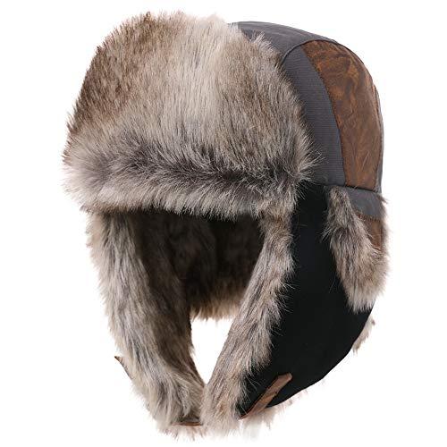 Comhats Grey Ushanka Russian Hat Men Trapper Bomber Hunting Hiking Skiing Earflap Hats Winter