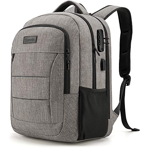 Tzowla Travel Laptop Backpack,Durable Water Resistant Anti-Theft 50L Extra Large 17.3 Inch with USB Charging Port and Lock Fit Computer Business Bookbag for Women Men College School Gift-Grey