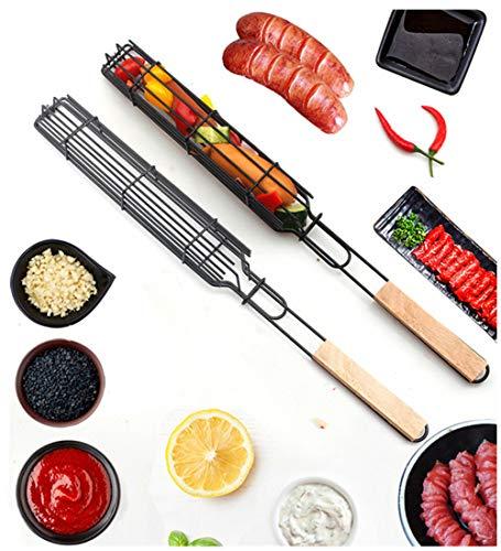bingx 2ST BBQ Grill-Ineinander greifen Wurst Clip Barbecue Meshes Tragbare Fisch Grillen Mesh Grill Basket Outdoor BBQ Werkzeug Küchenzubehör