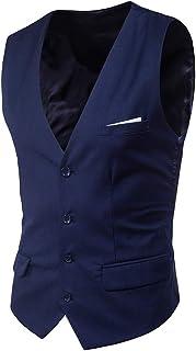 Guiran Men Slim Fit V Neck Business Casual Party Waistcoat Suit Vest Formal Wedding