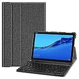 Fintie QWERTZ Tastatur Hülle für Huawei MediaPad M5 Lite 10 - Schutzhülle mit magnetisch Abnehmbarer drahtloser Deutscher Bluetooth Tastatur, Jeansoptik dunkelgrau