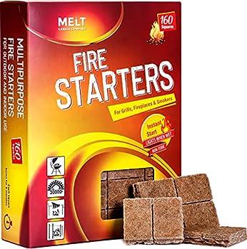 MELT Fire Starters BIG PACK 160 Squares Charcoal Starter for Grills Campfire Fireplace Firepits Smokers.No flare ups & flavor FireStarter for wood & pellet stove.Waterproof robust squares