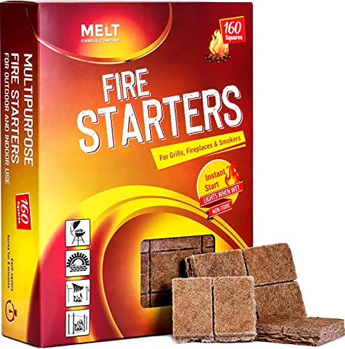 Fire Starters BIG PACK 160 Squares Charcoal Starter for Grills, Campfire, Fireplace, Firepits, Smokers.No flare ups & flavor. FireStarter for wood & pellet stove.Waterproof robust squares