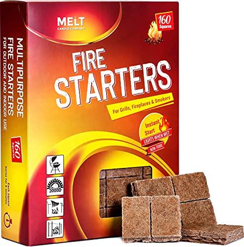 MELT Fire Starters BIG PACK 160 Squares Charcoal Starter for Grills, Campfire, Fireplace, Firepits, Smokers.No flare ups & flavor. FireStarter for wood & pellet stove.Waterproof robust squares