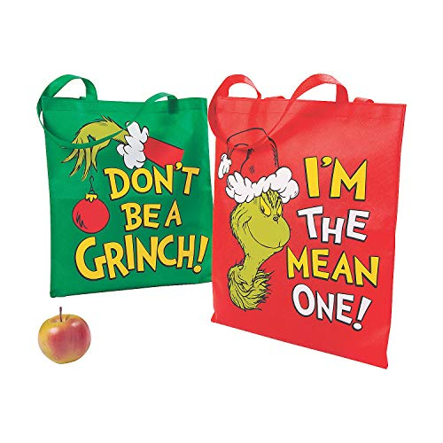 Fun Express Grinch Tote Bags - Apparel Accessories - 12 Pieces