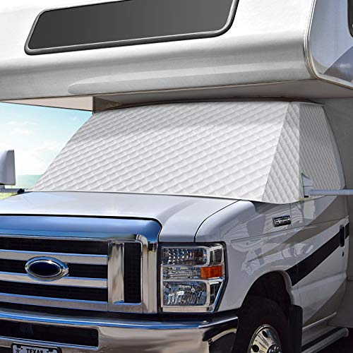 COOLTOP RV Windshield Snow Cover for Class C Ford E450 1997-2020, RV Front Window Cover Motorhome Windshield Sunshade Cover with Mirror Cutouts