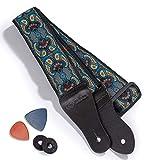 kliq, tracolla vintage in tessuto per chitarra acustica ed elettrica, stile hootenanny anni '60, 2 chiusure in gomma incluse turchese & caffè paisley