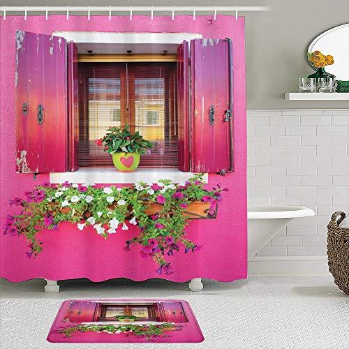vhg8dweh Juegos de Cortinas de baño con alfombras Antideslizantes, Ciudad Amor Vista al mar con Coloridos Edificios Composición de la Vida Urbana con Barcos Fotografía,con 12 Ganchos