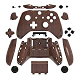 Full Housing Shell Faceplates Cover Case with Bumper Trigger ABXY Button RT LT RB LB Dpad Buttons Set for Xbox One Slim Xbox One S Controller Replacement (Wooden)