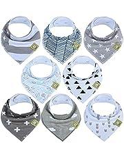 Baby Bandana Drool Bibs for Boys by KeaBabies - Super Absorbent Organic Cotton Bandana Bibs - Baby Drool Bibs - Teething Bibs - Handkerchief Bibs for Infant, Toddler - 8 Pack Bibs Set