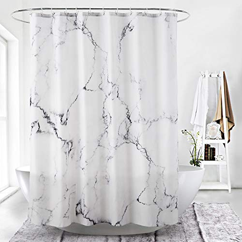 White Fine Leaves Bathroom Polyester Shower Curtain 180*180CM With 12 Hooks FREE