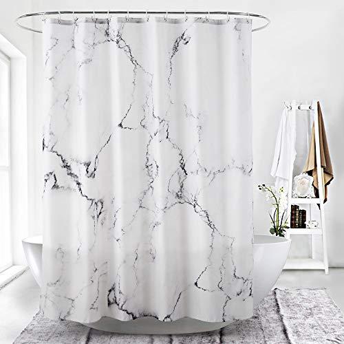 ufengke Duschvorhang Grau Marmor mit 12 Haken Weiß Duschvorhang aus Stoff Polyester Wasserdicht Anti Schimmel für Badezimmer (180X180 cm)