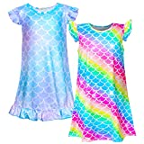 Sylfairy 2pcs Girls Nightgowns, Unicorn Nightgown Princess Pajama Dresses for Girls Sleepwear Nightie (Rainbow+Light Blue)