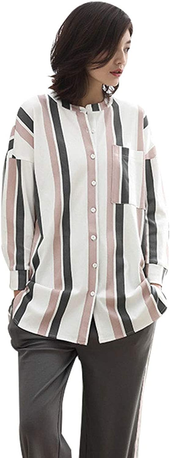 Nightgowns Pajama Females' Cotton Pajamas Casual Light Stripes LongSleeved Sleepwear for Spring and Autumn Ladies' Popular Gifts Sleepshirts (color   Natural, Size   M)