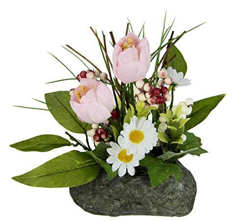 Flair Flower Gesteck Tulpen auf Stein Kunstblumen Künstliche Unechte Gefälschte Deko Pflanzen Blumen mit Blätter Frühjahrsdekoration Osterdeko Tischdeko Frühjahr Ostern Floristik, rosa, 20x20x15 cm
