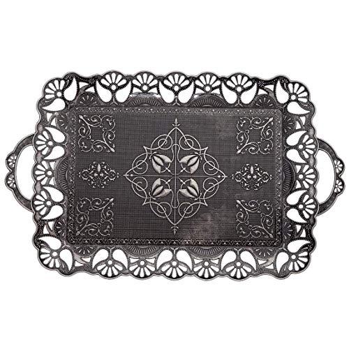 Türkisches Ottoman-Tablett für Kaffee, Tee, Getränke, Serviertablett (antik-schwarz)