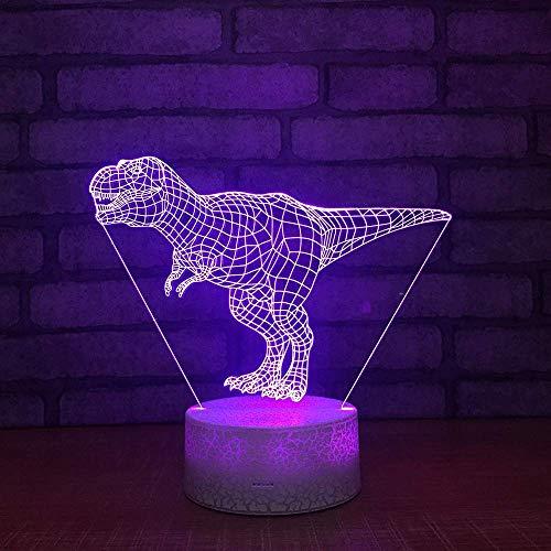 Subtop 3D Optical Illusion lamp, 7 kleurveranderingen, raak gevoelig LED-nachtlampje van de schakelaar met acrylvlak, ABS-onderkant, USB-kosten voor hoofddecoratie, perfecte cadeaus voor baby's Dinosaurus lamp