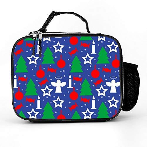 happygoluck1y Inpakpapier Naadloos Patroon Voor Kerstmis Lunch Tassen Geïsoleerde Rits met Zakken Draagbare Lunch Box voor Vrouwen voor Werk voor Kinderen