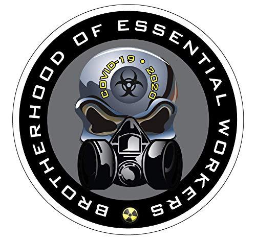 Essential Worker Hardhat Sticker Decal 10 Pack of 2' Chrome Skull Quarantine Decals