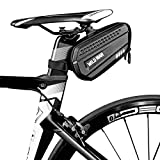 WILD MAN 1.2L Cycling Waterproof Hard Shell Bike Saddle Bag Under Seat for Road Mountain Bicycle Cycling(Black,ES7)