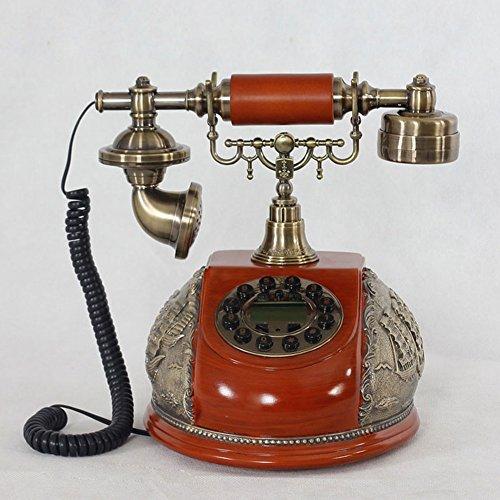 QARYYQ Teléfono Europeo clásico, Vintage, Europeo Antiguo, teléfono de Resina Envejecida, teléfono Liso