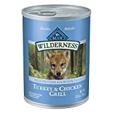 Blue Buffalo Wilderness High Protein Grain Free Natural Puppy Wet Dog Food, Turkey & Chicken Grill 12.5-oz cans (Pack of 12)
