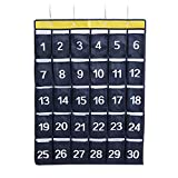 AZDENT Numbered Classroom Pocket Charts for Cell Phones Hanging Caculator Organizers 30 Pockets
