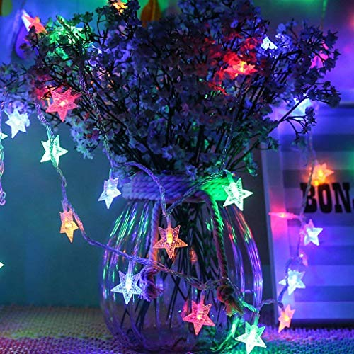 Star Fairy Lights Galaxer 40 Pcs LED Star Night Christmas String Light 20ft/6M Two Mode Monochrom and Shining Warm White Decoration Light Waterproof for Holiday Birthday and Party