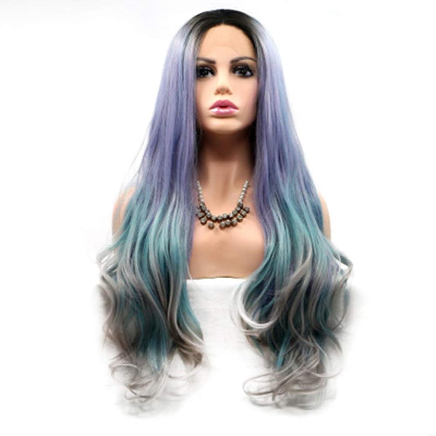 出くわす隔離するキノコZXF マシンの冷却色の混合色の長い髪の巻き毛のかつら高温シルクウィッグの長い髪の後のフロントハンドレース 美しい