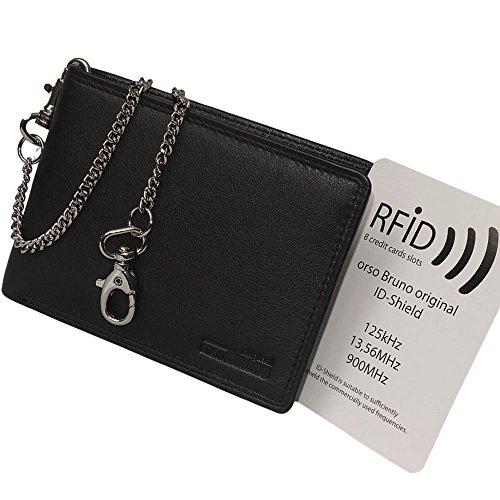 Schwarze Geldbörse mit Kette Leder RFID Querformat - Herren Geldbeutel Scheintasche Brieftasche Bikerbörse mit Kette Kettenbörse - Geldbörse Portmonee Männer Herren schwarz