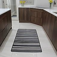 The Rug House Black and Grey Stripe Affordable Machine Washable Anti Creep Kitchen Mat Luna - 9