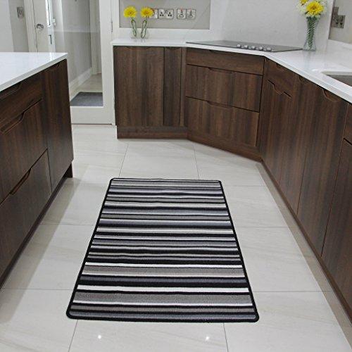 The Rug House Tapis de Cuisine antidérapant Lavable en Machine Bon Marché à Rayures Noires et Blanches - 8 Tailles Disponibles
