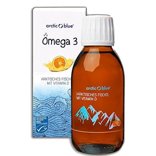 Arctic Blue® MSC Omega 3 Fischöl Fettsäuren mit Orangengeschmack mit Vitamin D - 1000mg Omega-3 pro Teelöffel- hochdosiert DHA & EPA | Jetzt online kaufen (150ml)