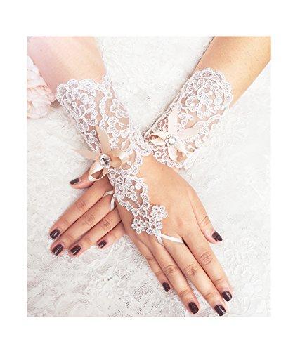 YuRong Lace Bridal Gloves Bow Wedding Gloves Rhinestone Gloves A15 (Royal blue)