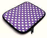 Emartbuy Polka Dots Lila / Weiß Wasserabweisende Weiche Neopren Hülle Schutzhülle Sleeve Case mit Reißverschluss geeignet / Schutzhülle Passend für Sony VAIO Duo 13 Hybrid (13-14 Zoll Laptop / Notebook)