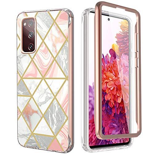 KETEEN Funda para Samsung Galaxy S20 FE, funda compatible con protector de pantalla, ultrafina, mármol 360, protección completa, Galaxy S20 FE, color rosa