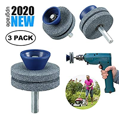 ?2020 New? Double Layer Corundum Lawn Mower Blade Sharpener, Universal Wear Lawnmower Blade Sharpener for Any Power Drill/Hand Drill, Double-Layer Grindstones Easy to Use and Not Easy Damage-(Gray)
