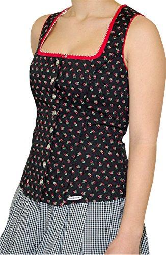 Spieth & Wensky Trachten Landhaus Mieder Corsage ELBE mit Schößchen Baumwolle Stretch, Größen:32;Farbe:schwarz - rot