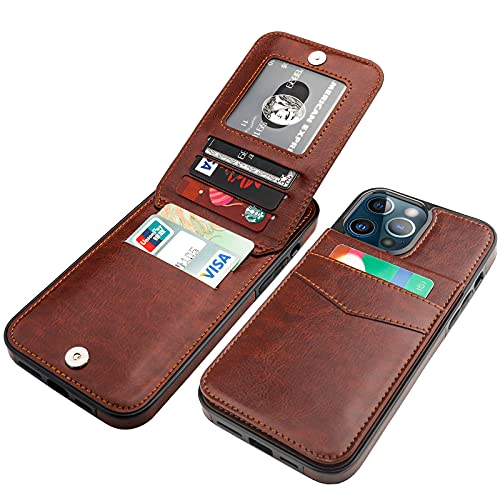 KIHUWEY Compatible with iPhone 13 Pro Max Case Wallet with Credit Card Holder, Premium Leather Magnetic Clasp Kickstand Heavy Duty Protective Cover for iPhone 13 Pro Max 6.7 Inch(Brown)