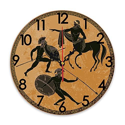 GEEVOSUN Reloj de Pared Redondo Reloj silencioso Soldado Ánfora Mitología Griega Antigua Escena de Grecia Figura Negra Cerámica Estilo clásico Dioses Héroe Roma, decoración del hogar para Sala de EST