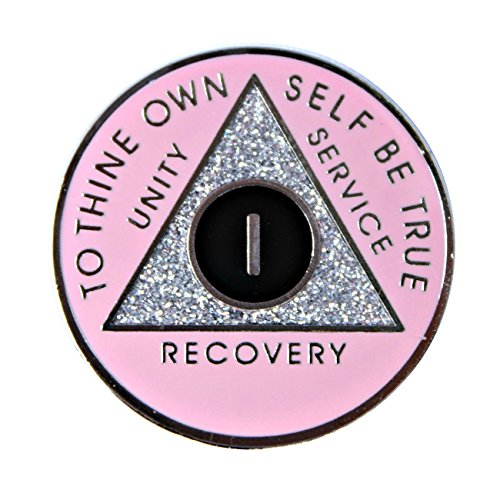 1 YEAR - Pink w/ Silver Sparkle Center AA Recovery Medallion - featuring Sober AA Medallions, AA Coins, AA Tokens, AA Chips, AA Gifts, AA Coin Commemorative