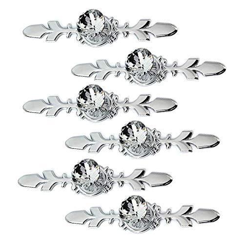 Sisyria Crystal Drawer Knobs,6 Pieces Furniture Knobs Crystal Glass Pull Handle for Dresser Bedroom Wardrobe Kitchen Bathroom Office Decoration