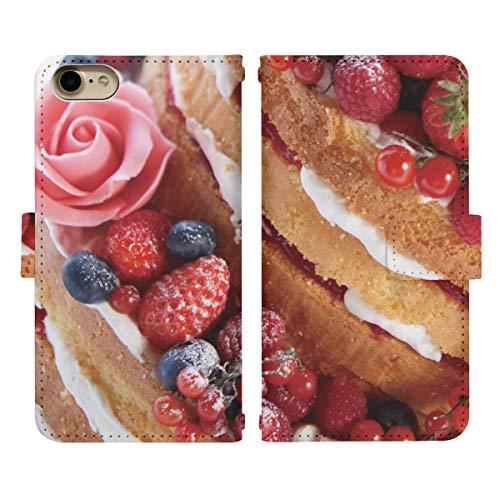 iPhone XR ベルト有り 手帳型 スマホケース スマホカバー di407(F) ストロベリー ラズベリー ブルーベリー ケーキ アイフォン 10 アイホン テン スマートフォン スマートホン 携帯 ケース アイフォンXR アイフォンテンR アイフォン