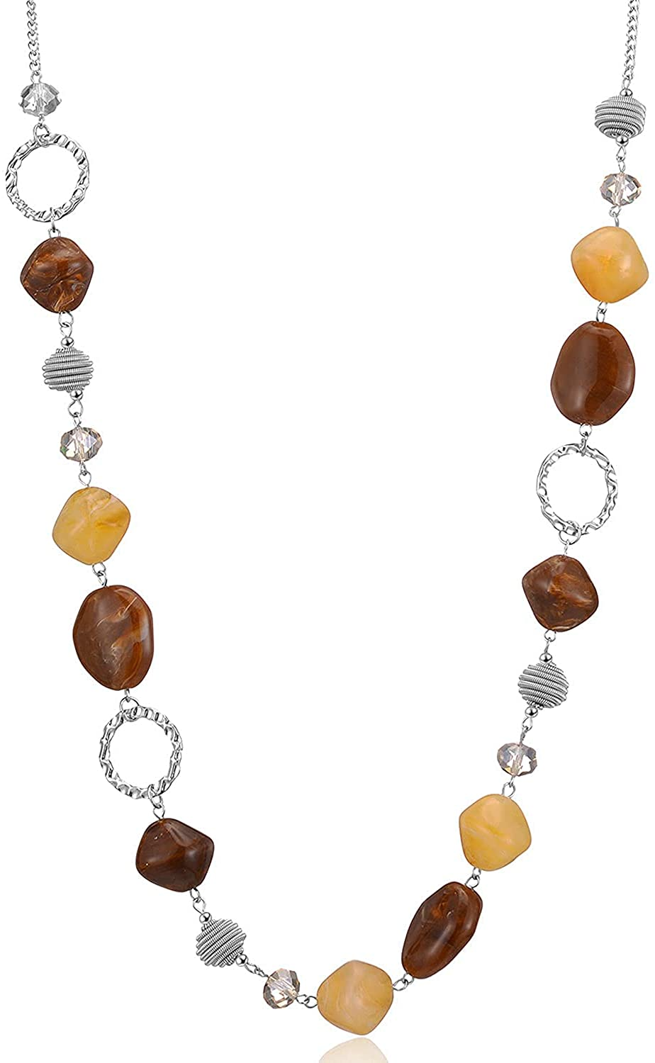 Beaded Long Necklace for Women Las Vegas Mall Max 56% OFF Chain Silver Sweater wit