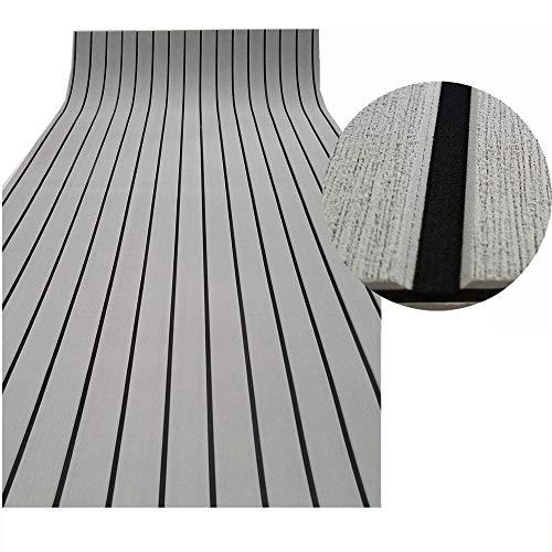 yuanjiasheng 240cm x 90cm EVA Marino Cubierta Teca Sintetica Suelos para Barcos Yate (Gris Claro con Negro)