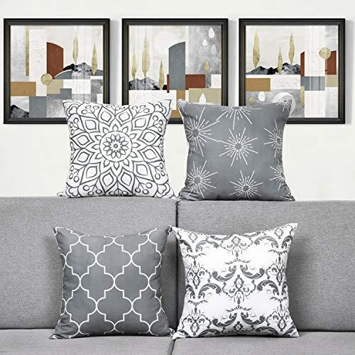 Alishomtll 4er Set Dekorative Kissenbezug Outdoor-Shell-Kissenbezug Zierkissenbezug Kissenhülle mit Reißverschluss für Couch Zimmer Polyester 45 x 45 cm, Grau
